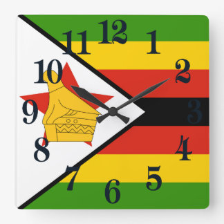 Flagge von Simbabwe Afrika Quadratische Wanduhr