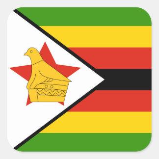 Flagge von Simbabwe Afrika Quadratischer Aufkleber