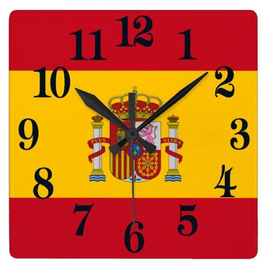 Flagge von Spanien - Bandera de Espana Quadratische Wanduhr