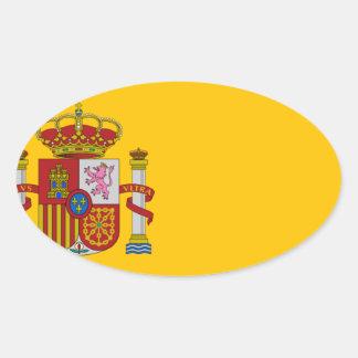 Flagge von Spanien - Bandera de España - spanische Ovaler Aufkleber
