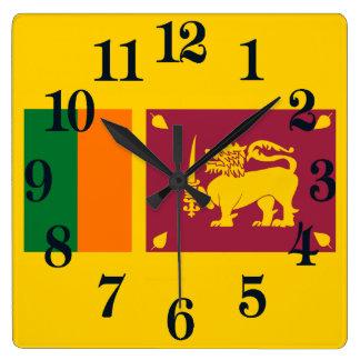 Flagge von Sri Lanka Insel Quadratische Wanduhr