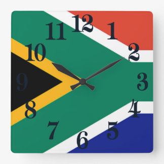 Flagge von Südafrika Bokke Quadratische Wanduhr