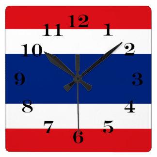 Flagge von Thailand Quadratische Wanduhr