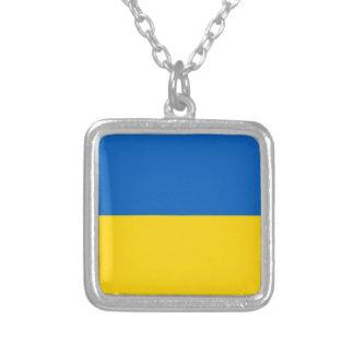 Flagge von Ukraine - ukrainische Flagge - Versilberte Kette