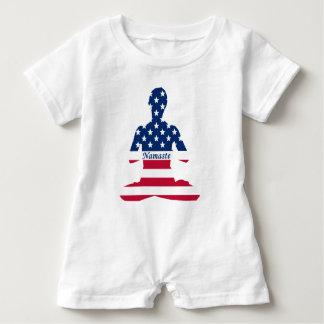 Flagge von USA-Meditation Amerikaneryoga Baby Strampler