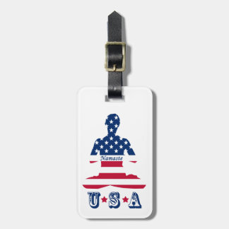 Flagge von USA-Meditation Amerikaneryoga Kofferanhänger
