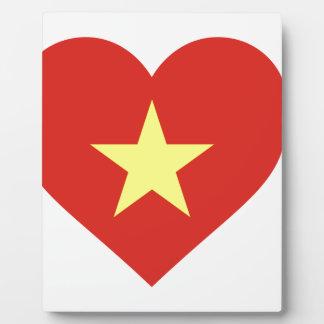 Flagge von Vietnam - I Liebe Vietnam - Cờ đỏ Sao Fotoplatte