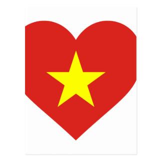 Flagge von Vietnam - I Liebe Vietnam - Cờ đỏ Sao Postkarte