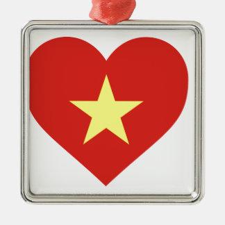 Flagge von Vietnam - I Liebe Vietnam - Cờ đỏ Sao Quadratisches Silberfarbenes Ornament