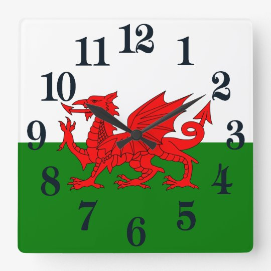 Flagge von Wales Quadratische Wanduhr