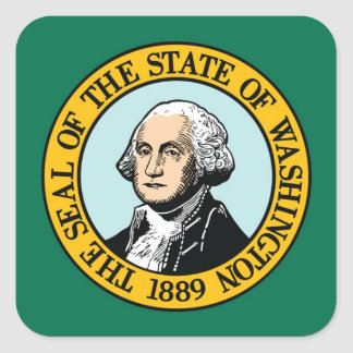 Flagge von Washington Quadratischer Aufkleber