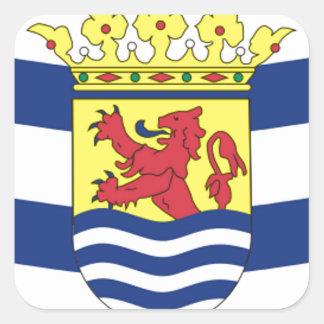 Flagge von Zeeland Quadratischer Aufkleber