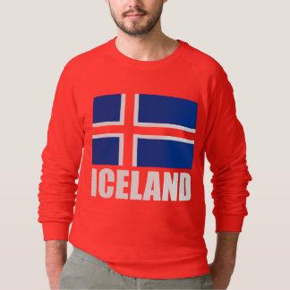 Flagge weißen Textes Islands auf Rot Sweatshirt