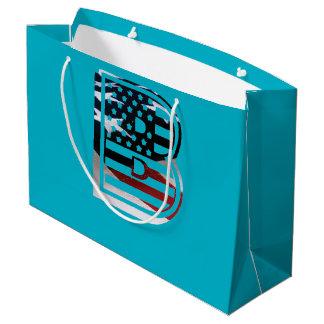Flaggen-amerikanische Initiale des Monogramm-B USA Große Geschenktüte