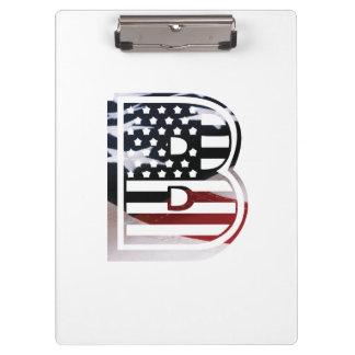 Flaggen-amerikanische Initiale des Monogramm-B USA Klemmbrett