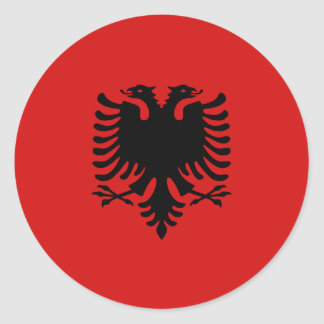 Flaggen-Aufkleber Albaniens Fisheye Runder Aufkleber