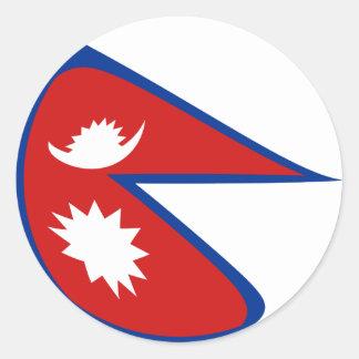 Flaggen-Aufkleber Nepals Fisheye Runder Aufkleber