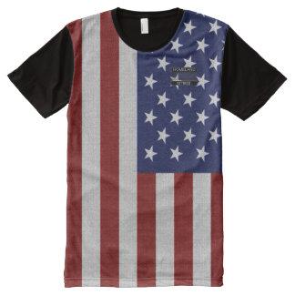 Flaggen-blauer Stern-roter gestreifter T - Shirt
