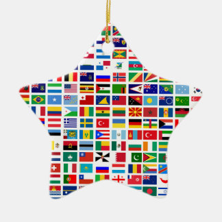 Flaggen der Welt gegen Weiß Keramik Ornament