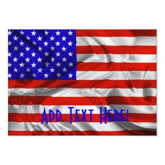 Flaggen-Einladungskarte US Flagge-USA Silk 12,7 X 17,8 Cm Einladungskarte