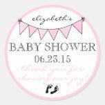 Flaggen-Flaggen-danken hübsche rosa Baby-Dusche Runder Aufkleber