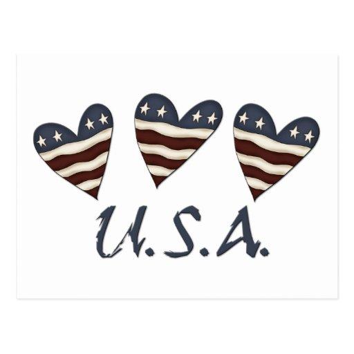 Flaggen-Herz-patriotische Postkarte