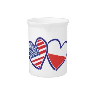 Flaggen-Herzen USA Polen Getränke Pitcher