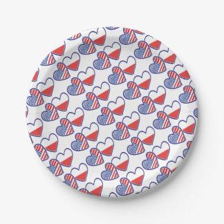 Flaggen-Herzen USA Polen Pappteller