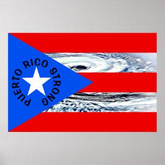 Flaggen-Hurrikan-Plakat Puertos Rico starkes Poster