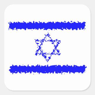 Flaggen-Israel-Blau-Land Quadratischer Aufkleber