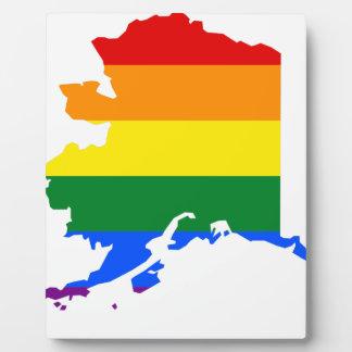 Flaggen-Karte Alaskas LGBT Fotoplatte