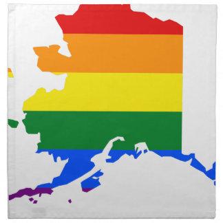 Flaggen-Karte Alaskas LGBT Serviette