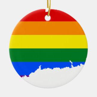 Flaggen-Karte Connecticuts LGBT Keramik Ornament