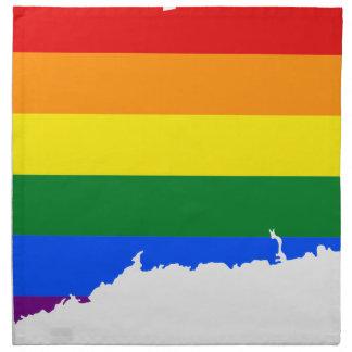 Flaggen-Karte Connecticuts LGBT Serviette
