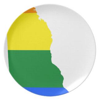 Flaggen-Karte Delawares LGBT Melaminteller