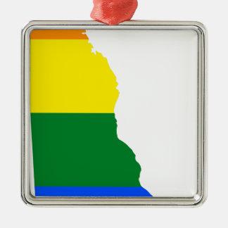 Flaggen-Karte Delawares LGBT Silbernes Ornament