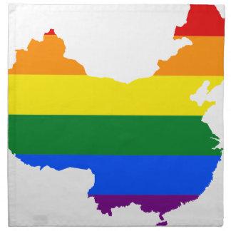 Flaggen-Karte der China-LGBT Stoffserviette