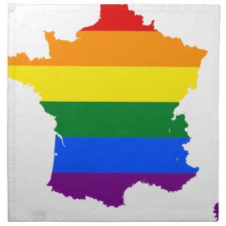 Flaggen-Karte Frankreichs LGBT Serviette