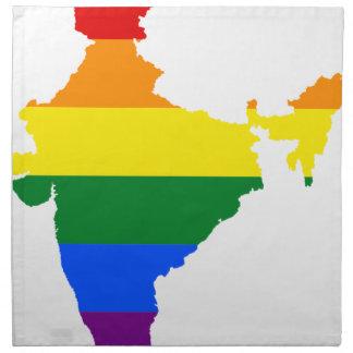 Flaggen-Karte Indiens LGBT Stoffserviette