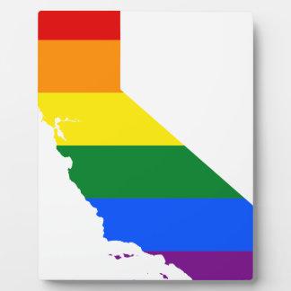Flaggen-Karte Kaliforniens LGBT Fotoplatte