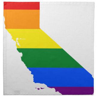 Flaggen-Karte Kaliforniens LGBT Serviette