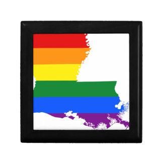 Flaggen-Karte Louisianas LGBT Schmuckschachtel