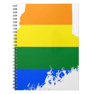 Flaggen-Karte Maines LGBT Spiral Notizblock