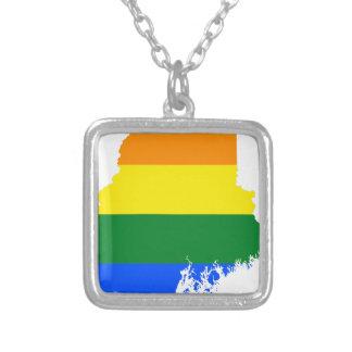 Flaggen-Karte Maines LGBT Versilberte Kette