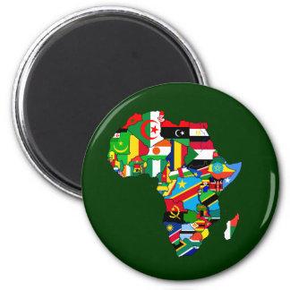 Flaggen-Karte von Afrika-Flaggen - afrikanisches K Runder Magnet 5,7 Cm