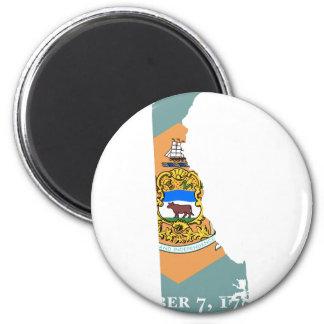 Flaggen-Karte von Delaware Runder Magnet 5,7 Cm