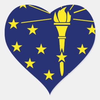Flaggen-Karte von Indiana Herz-Aufkleber
