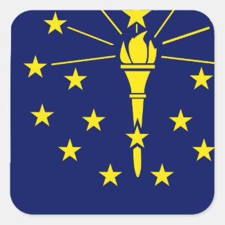 Flaggen-Karte von Indiana Quadratischer Aufkleber