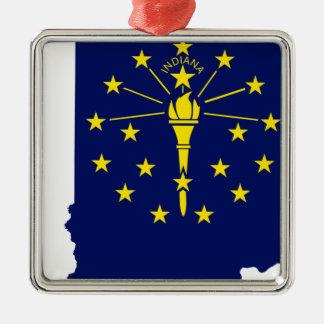 Flaggen-Karte von Indiana Silbernes Ornament