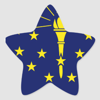 Flaggen-Karte von Indiana Stern-Aufkleber